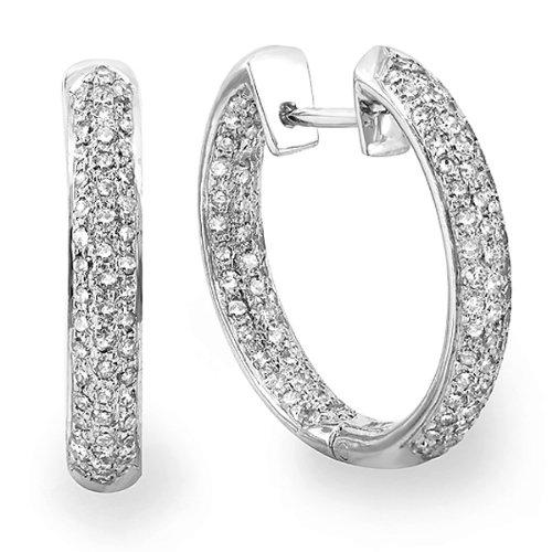 DazzlingRock - Pendientes de aro de oro blanco de 14 quilates con diamantes redondos (3,31 quilates, color G-H, claridad I1-I2)