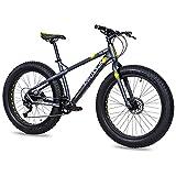 CHRISSON Bicicleta de montaña Fat Three de 26 pulgadas, color negro y amarillo,...