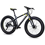 CHRISSON Bicicleta de montaña Fat Three de 26 pulgadas, color negro y amarillo, Hardtail Fat Tyre Mountain Bike, bicicleta con neumáticos 4.0 grasos y 9 velocidades Shimano Alivio