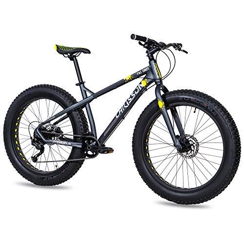 CHRISSON 26 Zoll Fatbike Mountainbike - Fat Three schwarz-gelb - Hardtail Fat Tyre Mountain Bike, Fahrrad mit 4.0 fette Reifen und 9 Gang Shimano Alivio Schaltung
