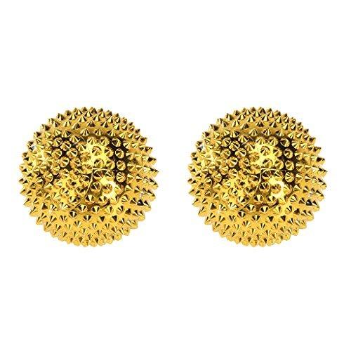 1 Paar magnetische Akupressurkugeln Gold klein, 32 mm durchmesser 228 Akupunkturnadeln