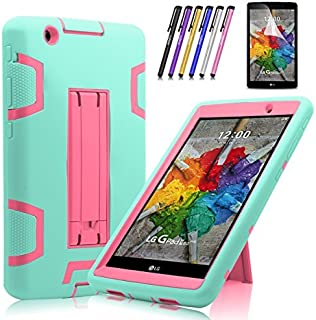 Cherrry Shock Proof [Impact Resistant] [Corner Protection] Case Build in Kickstand for LG G Pad X 8.0 / LG GPad III 3 8.0 Inch Tablet Case +Screen Protector Film and Stylus Pen (Green/Pink)