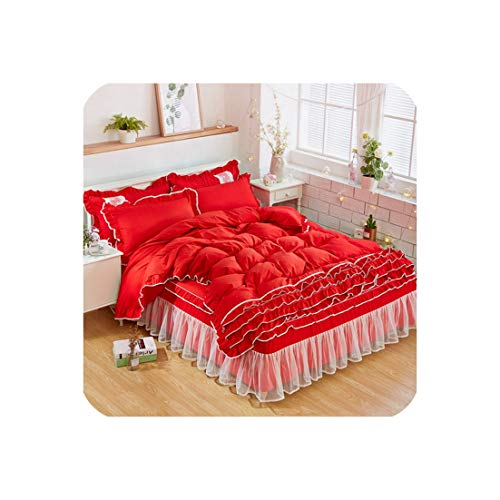 FAT BIG CAT New Luxury White Bedding Sets for Kids Girls Queen Twin King Size Duvet Cover Lace Bed Skirt Set Pillowcase Wedding Bedclothes,Style2,120X200Cm Bed 3Pcs,Bed Skirt