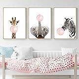 3 Laminas Animales Elefante Jirafa Cebra Chicle Rosa Pósteres Decorativas Pared Infantil Imagen de Niños Decorar Habitaciones de Bebe Regalo Sin Marco PTAN002-M