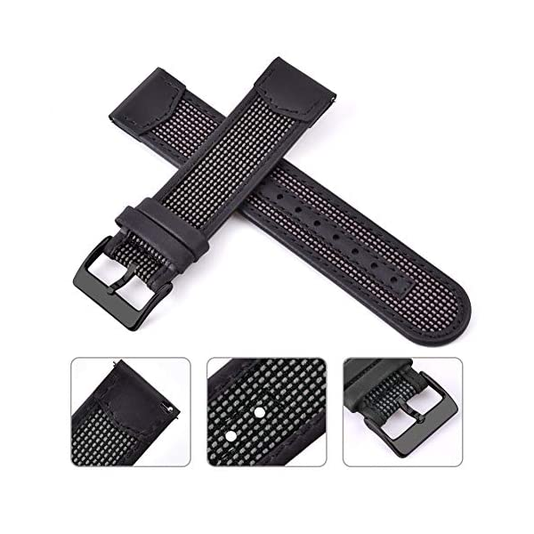 Ritche 18mm 20mm 22mm Quick Release Leather Watch Bands Nylon Watch Strap for Men Women