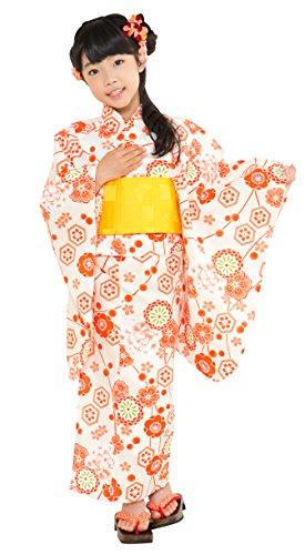 京都室町st.『オリジナル浴衣子供用古典柄の女の子浴衣110cm【生成り・オレンジ系古典柄】[OCN11-8D]』