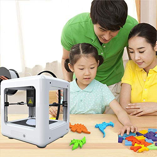 4YANG Mini imprimante 3D, imprimante 3D portable entièrement assemblée avec logiciel de tranchage 90 * 110 * 110mm pour l'éducation domestique et les cadeaux d'enfants de bricolage (blanc)