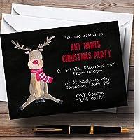 トナカイチョーク効果Personalizedクリスマス新しい年/休日/パーティーInvit。。。 200 Invitations