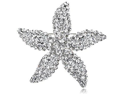 Alilang Star Lily Clear Crystal Rhinestone Fashion Flower Starfish Costume Pin Brooch
