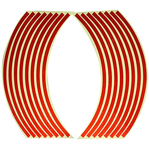 MeterBew1147 Pegatina para Rueda de Coche Pegatinas Reflectantes para neumáticos de 18 Pulgadas Cinta Reflectante de Advertencia de Seguridad Cinta Reflectante Fluorescente Impermeable - Rojo