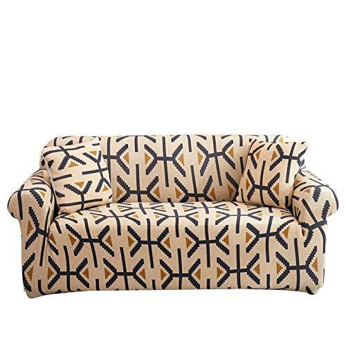 Funda elástica para sillones Fundas de sofá en Forma de L Impresas con celosía Cuadrada de 4 plazas para Sala de Estar, Funda Protectora elástica Antipolvo para Esquina M