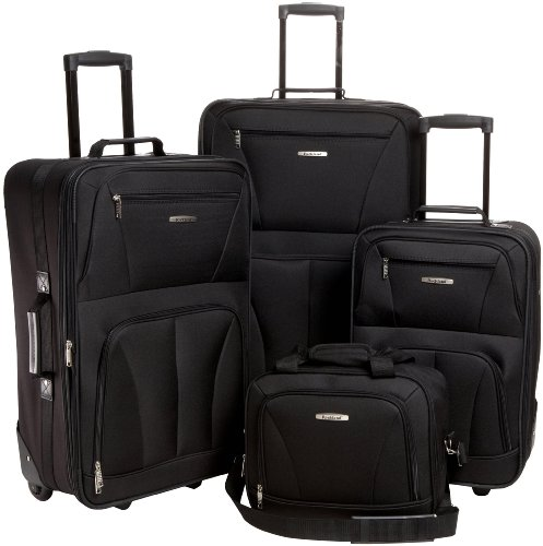 Rockland Journey Softside Upright Luggage Set, Black, 4-Piece (14/19/24/28)