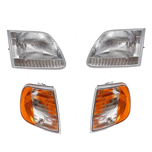 Brock Replacement 4 Pc Headlights w/Park Signal Lights Compatible with 97-03 F150 Pickup Truck