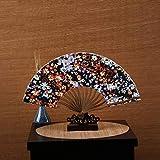 ZWY Ventilador, Color Hueso Ventilador Mujer, Abanico Plegable Japonesa, Pequeño Ventilador de Raso, 6 Pulgadas quilla Ventilador, Multicolor (Color : C)