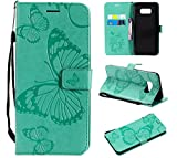 SMYTU Galaxy S8 Plus Wallet Case, Premium Emboss Butterfly Pattern Flip Wallet Shell PU Leather Magnetic Cover Skin with Wrist Strap Case for Samsung Galaxy S8 Plus 6.2'(B-Green)