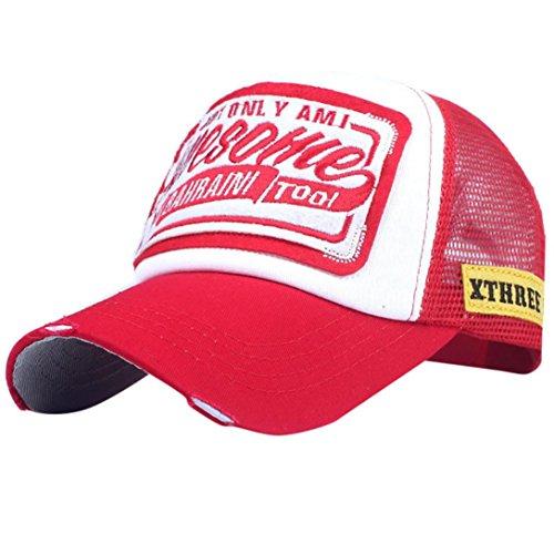 Unisex Baseball Cap FORH Mode Sommer Kappe Mesh Hüte Hip Hop caps Chic Besticken Brief Kappe Sommer Sport Mütze Schirmmütze (Rot B)