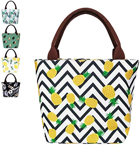 Pineapple Lunch Bag for Women Insulated Lunchbox Cooler Bag Lunch Tote Bag for Work/Beach/Office/Picnic