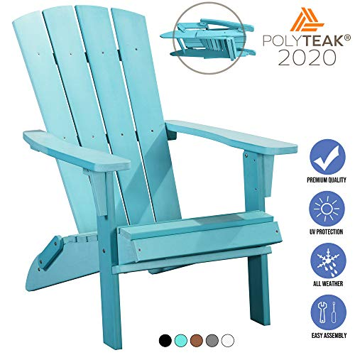 PolyTEAK Modern Folding Poly Adirondack Chair, Stone Gray | Adult-Size, Weather Resistant, Made from...