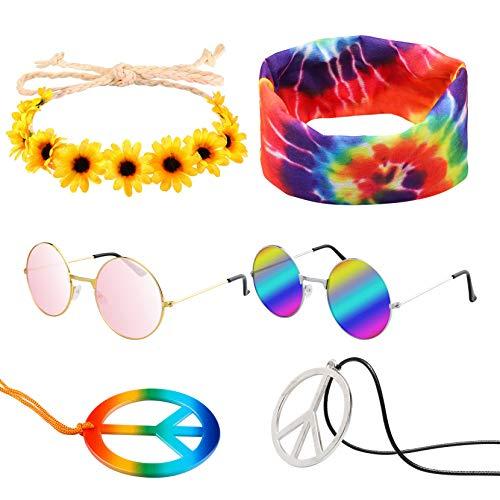 R HORSE 7 Pcs Hippie Costume Set Peace Sign Necklaces Flower Headband Hippie Sunglasses Tie Dye Headband 60s Hippie Accessories for Women Men Couples Friends