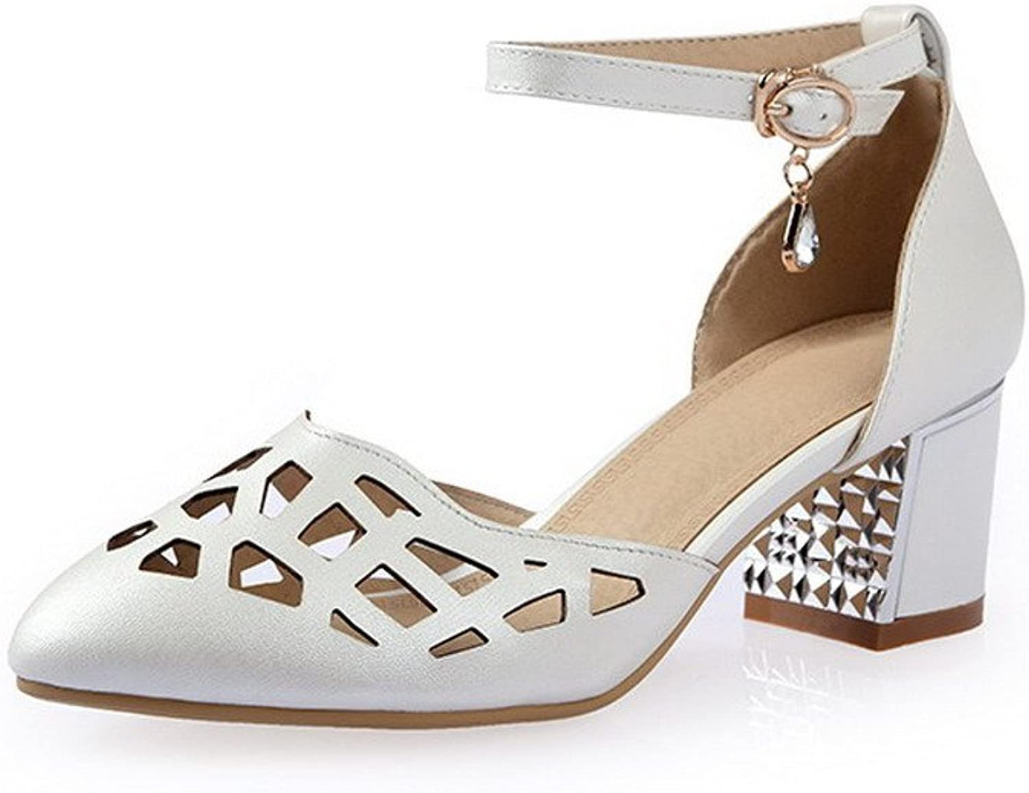 AllhqFashion Women's Soft Material Closed Pointed Toe Kitten-Heels Buckle Solid Sandals