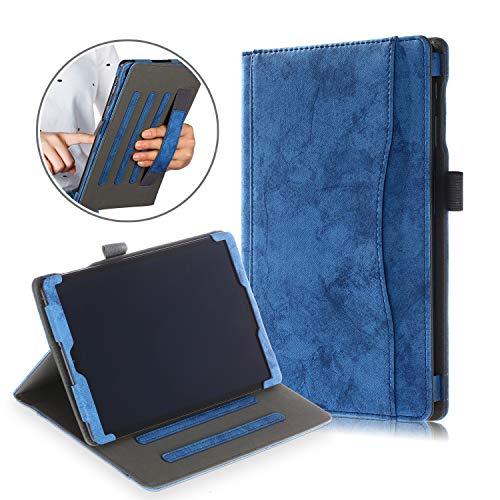 Xuanbeier Multifunktions-PU-Leder Stand Case für Samsung Galaxy Tab A T510/T515 10,1 Zoll 2019,mit Mehreren Betrachtungswinkeln und Handhalter,Dunkelblau
