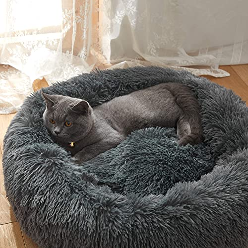 Uozzi Bedding Plush Faux Fur Round Pet Dog Bed, Comfortable Fuzzy Donut Cuddler Cushion for Dogs & Cats, Soft Shaggy and Warm for Winter (Dark Gray, 19.7')
