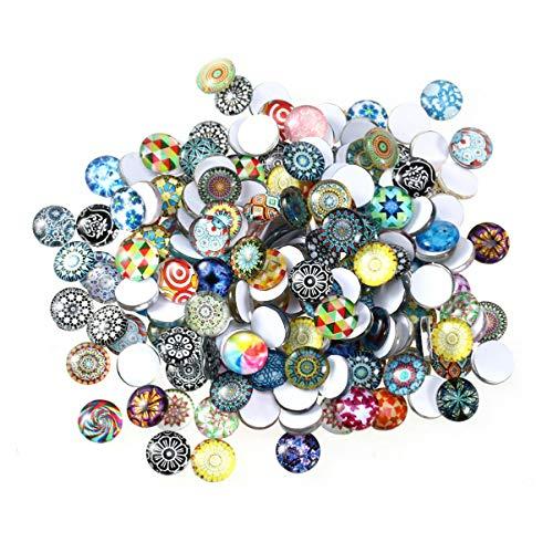 VORCOOL 200 Piezas Mosaico Imagen Vidrio Azulejos Cabujones 12Mm Medio Redondo Floral Cuentas para DIY Colgante Joyería Materiales para Hacer