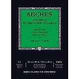 Arches Blocco Per Acquerello Incollato 1 Lato (12 Fogli) - Grana Fina - 300 G/Mq - 26 X 36 cm