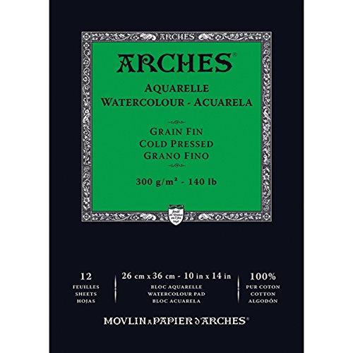 Arches - Papel de acuarela, bloc 12 hojas engomado 1 lado, grano fino, 300 g/m², 26 x 36 cm