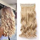 Moda Hair Extensions 60cm Rizado Una Pieza Media Cabeza Llena Clip en Extensiones de Cabello Largo Postizo Miel rubia mix Rubio ceniza