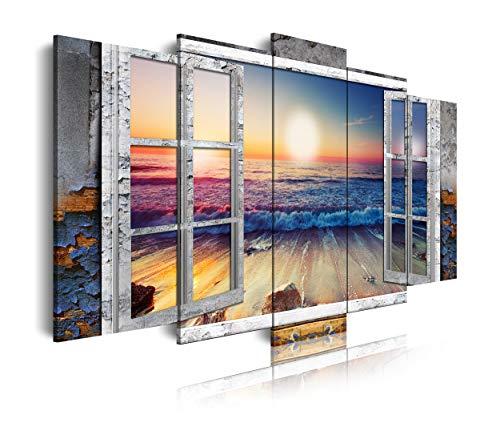 DekoArte 495 - Cuadros Modernos Impresión de Imagen Artística Digitalizada   Lienzo Decorativo Para Salón o Dormitorio   Estilo Paisajes Vistas Puesta de Sol en Playa desde Ventana   5 Piezas 150x80cm