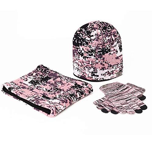 Amorar Damen Herren Wintermütze Mütze Schal Handschuh-Sets Camouflage Gestrickt Beanie Mütze Wollmütze Strickmütze Earflap Plüsch Hut,EINWEG Verpackung