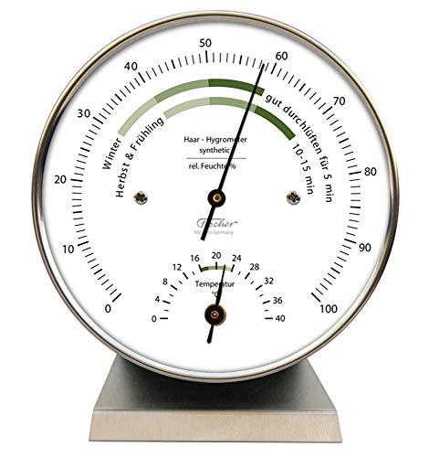 Fischer Raumklima-Hygrometer mit Thermometer, Edelstahl, Mehrfarbig, Einheitsgröße
