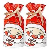 FLOFIA 50pcs Bolsas Bolsitas de Regalo Navidad Pequeñas Bolsas Plástico Navidad Con Cordón para Caramelos Dulce Chuche Galletas Regalos de Fiesta DIY Calendarios de Adviento (Patrón Papa de Noél)