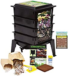 Image: Worm Factory 360 Worm Composting Bin + Bonus What Can Red Wigglers Eat? Infographic Refrigerator Magnet (Black) - Vermicomposting Container System - Live Worm Farm Starter Kit for Kids and Adults