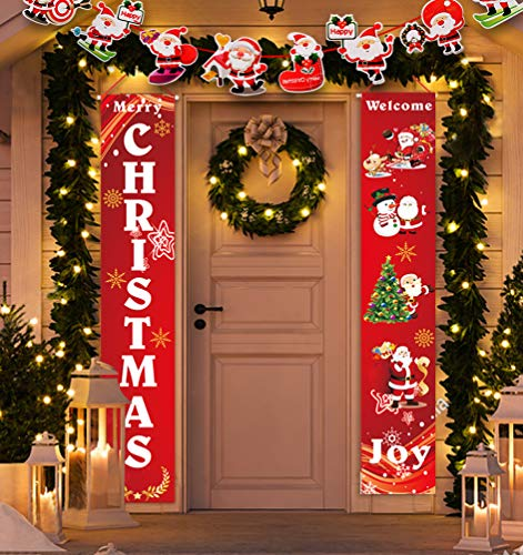 Idefair Merry Christmas Banner, Christmas Door Banner Christmas Porch Sign Front Porch Christmas Decorations Christmas Porch Signs Christmas Decorations Outdoor Indoor Home Wall Door Decor