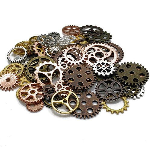 Xin Necessities 100 Gram (Approx 80pcs) DIY Assorted Color Antique Metal Steampunk Gears Charms Pendant Clock Watch Wheel Gear for Crafting, Cosplay Halloween Decoration,Jewelry Making Accessory