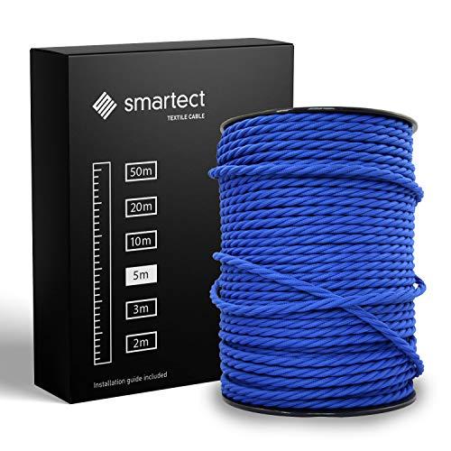 smartect Textilkabel Marine Blau - 5 Meter Vintage Lampenkabel aus Textil - 3-Adrig (3 x 0.75 mm²) - Stoffummanteltes Stromkabel für DIY Projekt