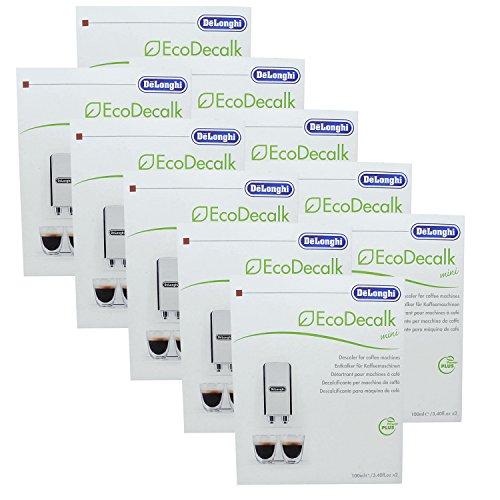 10er Pack DeLonghi Eco Decalk Mini 2 x 100 ml für Kaffeevollautomaten, Espressomaschinen, Filterkaffeemaschinen, Dampfreinigungsgeräte und Dampfbügelstationen