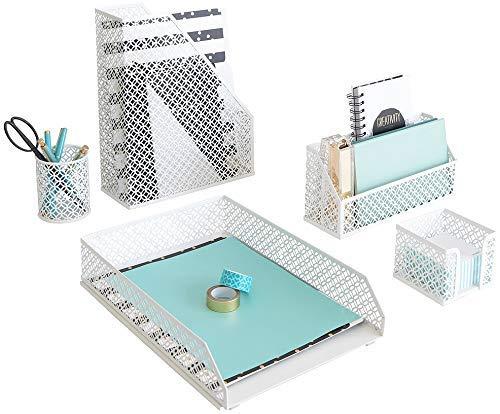 Blu Monaco Office Supplies - Set di 5 accessori da scrivania per donne e ragazze, colore: rosa