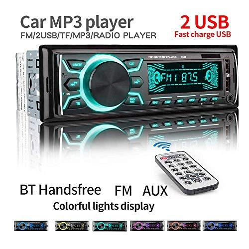 Autoradio met Bluetooth handsfree installatie, 60 W x 4 single din, universele autoradio FM-ontvanger, ingebouwde microfoon, universele MP3/MP5-speler, ondersteuning USB/TF/AUX/WMA/WAV-afstandsbediening