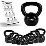 MSPORTS Kettlebell Professional Iron 2 – 30 kg inkl. Übungsposter Kugelhantel