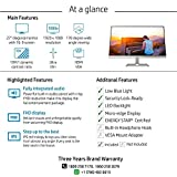 HP 27-inch Ultra-Slim Full HD Computer Monitor - AMD FreeSync, Built-in Speakers, IPS Panel with HDMI and VGA Ports - HP 27fw Display with Audio (4TB32AA)