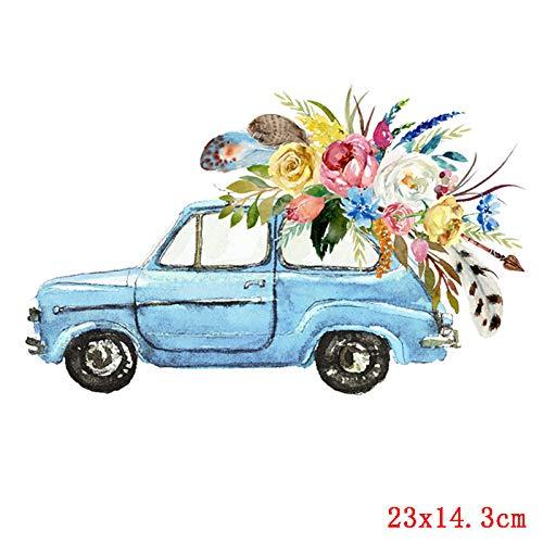Transferencia térmica de hierro en parche,Pegatinas de Transferencia de Calor,Aplicar a camisetas, chaquetas, jeans, chaquetas, mochilas, coche de flores amor romántico azul