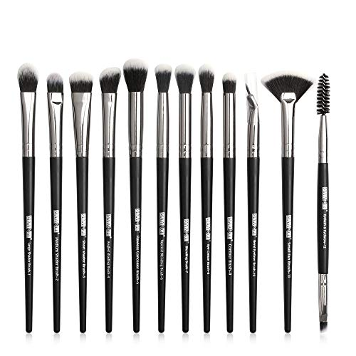 12pcs / lot brosses à maquillage de maquillage professionnel Pinceaux Eye Shadow Blending Eyeliner Cils Sourcils Brosse for le maquillage outil (Handle Color : Black silver)