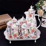 Gaojian 8 Piezas Tetera de Estilo Creativo Europeo con 6 Taza de té y 1 Bandeja de té de China Service Set Juego de café para la decoración del hogar Regalo