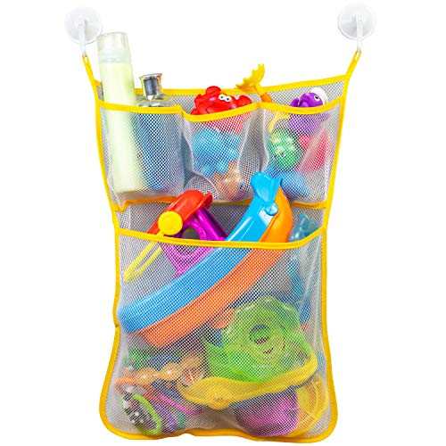 S&T INC. Hanging Bath or Shower Toy Storage Caddy Organizer with Quick Drying Mesh, Pockets Hold Kid's Tub Toys, Soaps or Shampoos, 14 Inch by 20 Inch Net with Hooks Included, White and Yellow