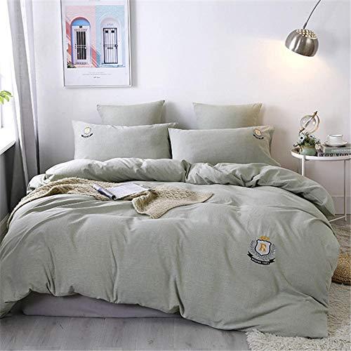 NIANMEI Dekbedovertrek van puur katoen in korte stijl Beddengoed garnituren voor tweepersoonsbedden lichtgroen kaki grijs 160 x 210 cm