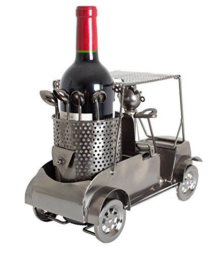 Brubaker Wein Flaschenhalter Golfer in einem Golfcart - Metall Skulptur - Geschenk mit Geschenkkarte - 3