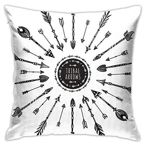 Round Tribal Arrows Decorative Throw Pillow Cover Without Inserts Cushion Case for Home Sofa Bedroom Car Chair House Party Indoor Outdoor 18 X 18 Inch 45 X 45 cm